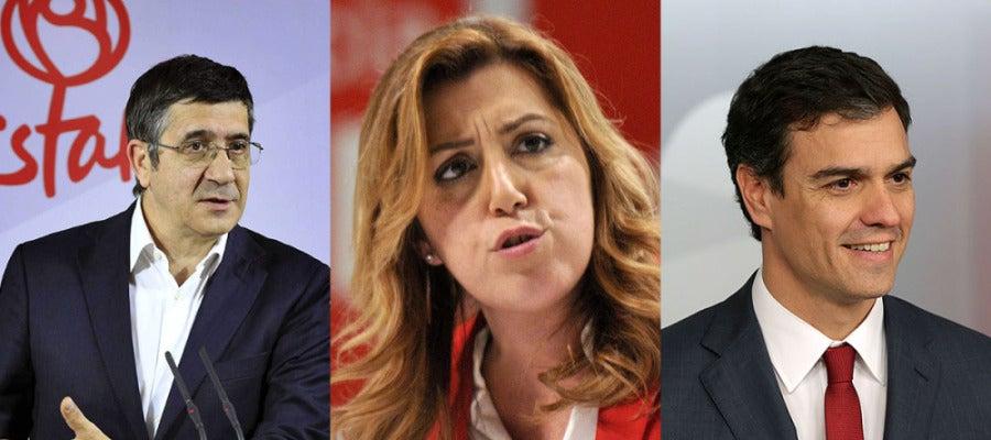 Patxi López, Susana Díaz y Pedro Sánchez