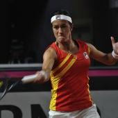 Silvia Soler, durante su partido contra Mladenovic