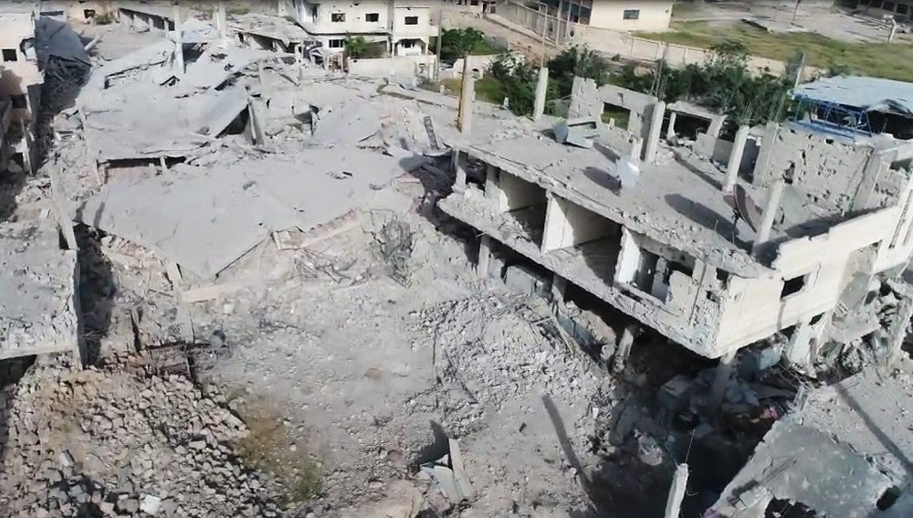 Vista aérea de una zona bombardeada de Siria