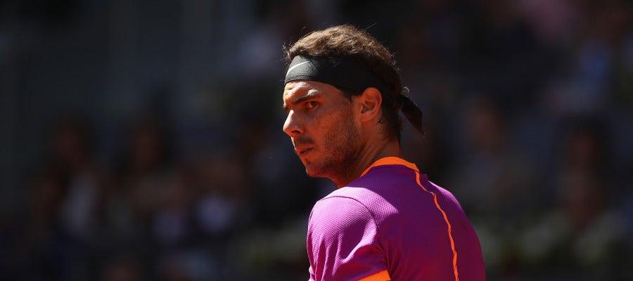 Rafa Nadal celebra un punto en su partido contra Novak Djokovic