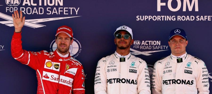 Vettel, Hamilton y Bottas, los más rápidos de la clasificación de España