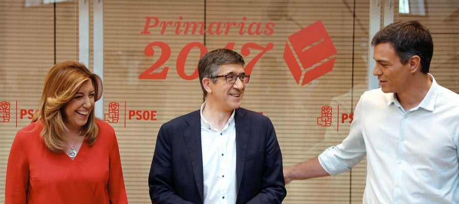 Los candidatos a la Secretaría General del PSOE, Susana Díaz, Patxi López y Pedro Sánchez