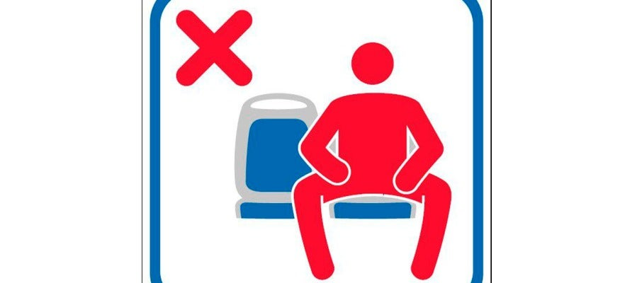 Nueva señal a bordo de los buses de la EMT de Madrid para evitar el maspreading o despatarre masculino