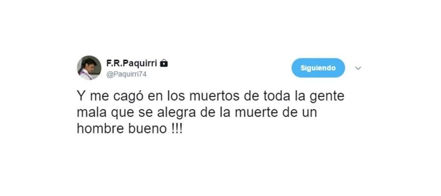 Tuit de Francisco Rivera en defensa de Fandiño