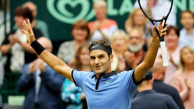 Roger Federer, en el torneo de Halle