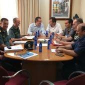 Junta Local de Seguridad que ha tenido lugar en Moncofa, y que ha estado copresidida por el subdelegado del Gobierno en Castellón, David Barelles, junto con el alcalde de la localidad, Wences Alós.