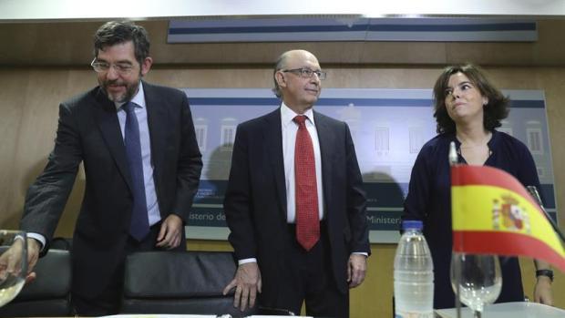 Alberto Nadal, Cristóbal Montoro y Soraya Sáenz de Santamaría