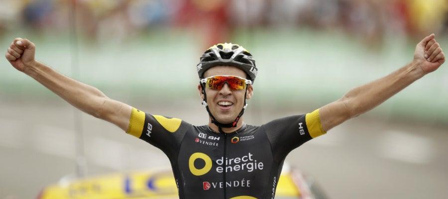 Lilian Calmejane celebra la victoria en una etapa del Tour