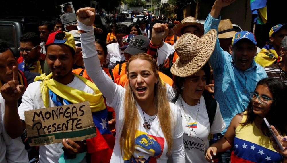 Lilian Tintori, en la marcha de los opositores venezolanos