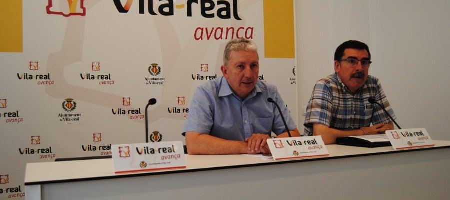 Xavier Serralvo y José Pascual Colàs anunciant ahir en la roda de premsa el fi del termini de presentació de propostes