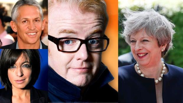 Chris Evans, Gary Lineker, Claudia Winkleman y Theresa May
