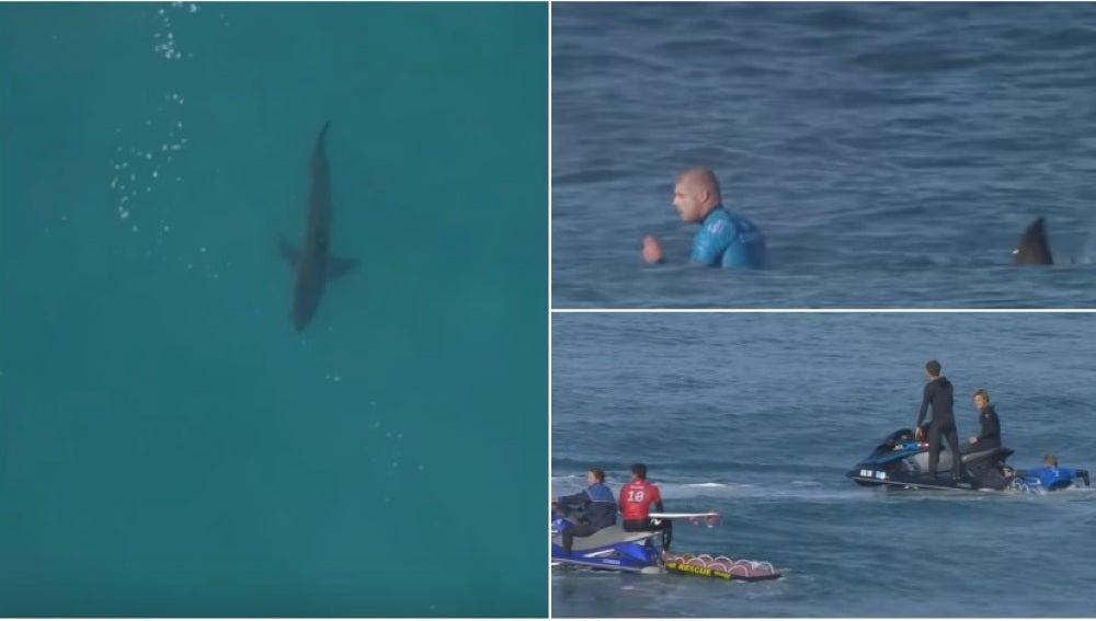 Mick Fanning, de nuevo ante un tiburón en Sudáfrica