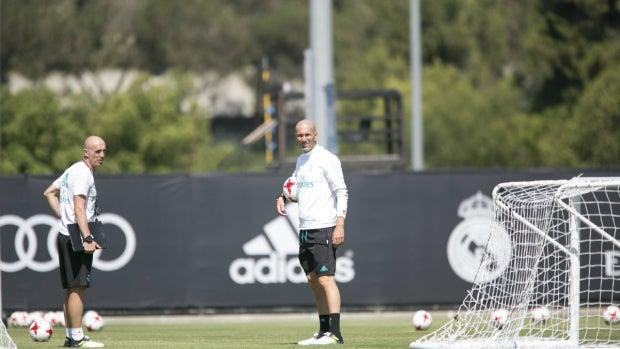Zidane, en un entrenamiento