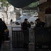 Policías israelíes delante de los detectores de metales en la Explanada de las Mezquitas