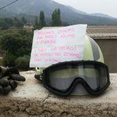 Nota de los vecinos de Molinicos para los bomberos de Yeste