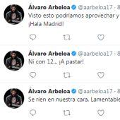 Los tuits de Arbeloa durante la Supercopa de España