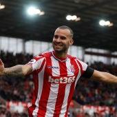Jesé Rodríguez celebra su primer gol con el Stoke City