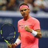 Rafa Nadal celebra un punto ante su rival en el US Open