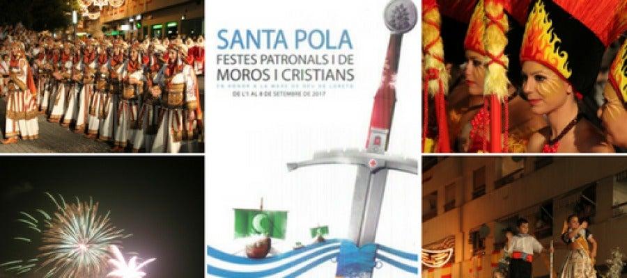 Cartel anunciador de las fiestas patronales y de moros y cristianos de Santa Pola