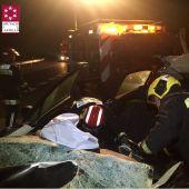 Los efectivos del parque de bomberos de Alto Palacia que tuvieron que excarcelar a los dos conductores.