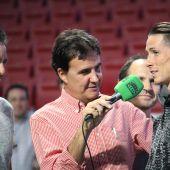 José Ramón de la Morena con Fernando Torres en el Wanda.