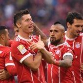 Lewandowski celebra uno de sus goles con el Bayern de Múnich