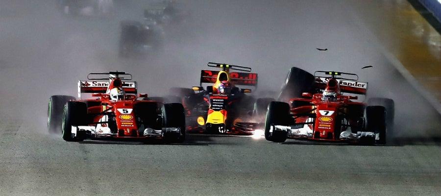 Accidente entre Raikkonen, Vettel y Verstappen