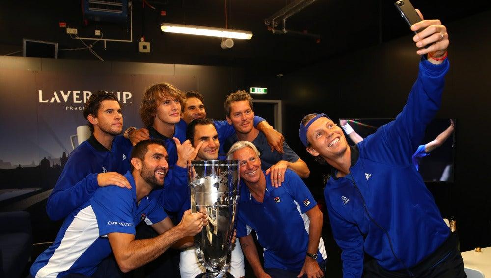 Los jugadores del equipo Europa celebran su triunfo en la Laver Cup