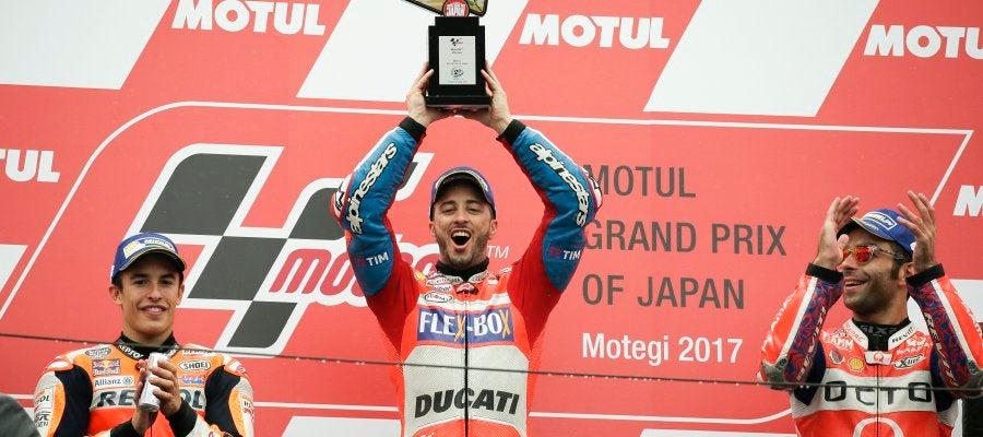 Dovizioso se impuso en el GP de Japón, por delante de Marc Márquez y de Danilo Petrucci.