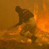 Un operario de los servicios de extinción de incendios trabaja en Vigo
