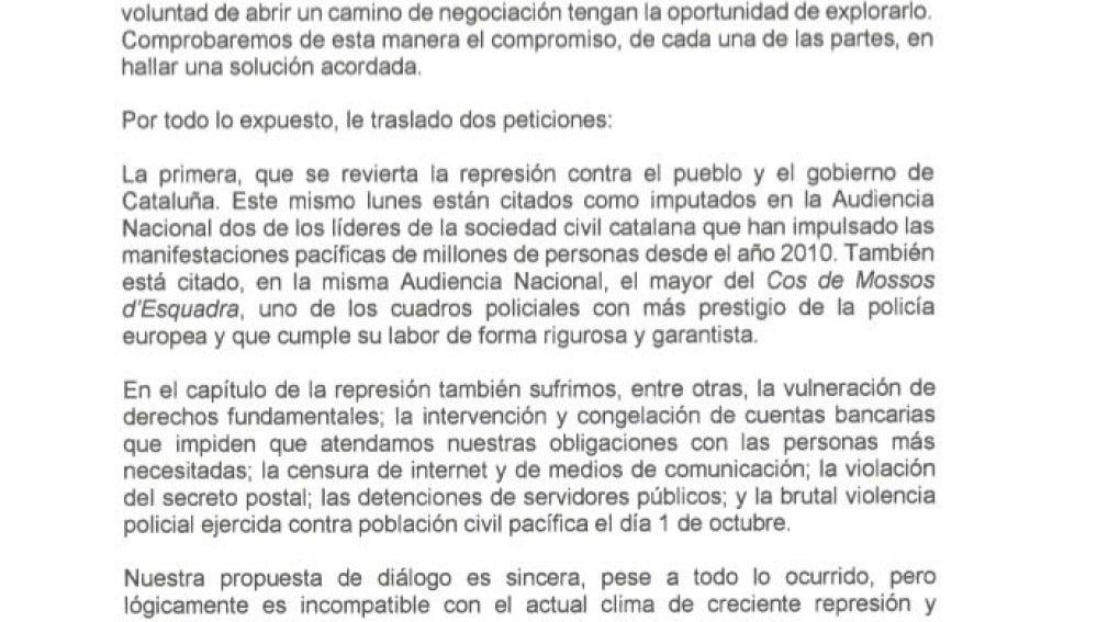 La carta de Carles Puigdemont