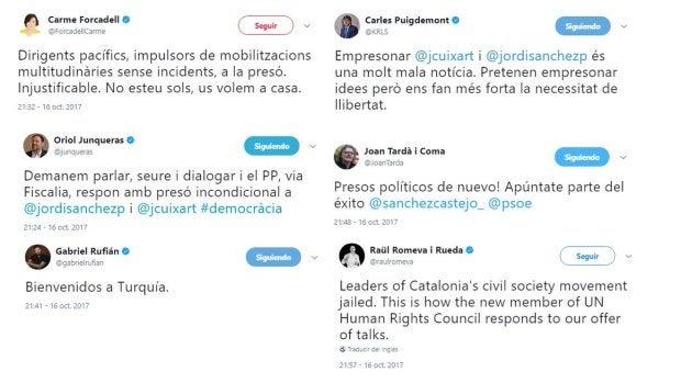 Primeras reacciones al encarcelamiento de los líderes de ANC y Ómnium