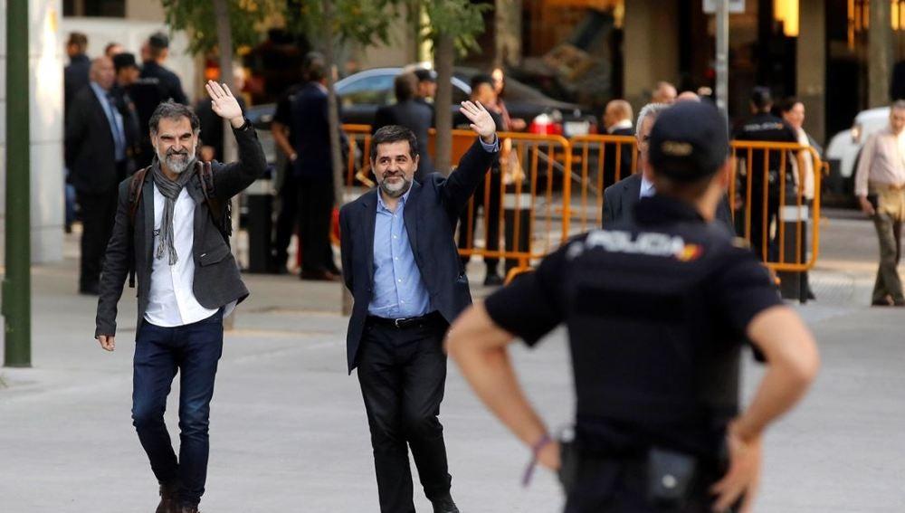 Jordi Cuixart y Jordi Sánchez, líderes de Òmnium y ANC