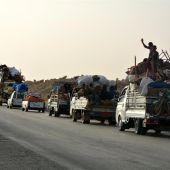 Varias familias abandonan Al Raqa (Siria)