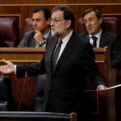El presidente del Gobierno, Mariano Rajoy, durante la sesión de control al Gobierno en el Congreso