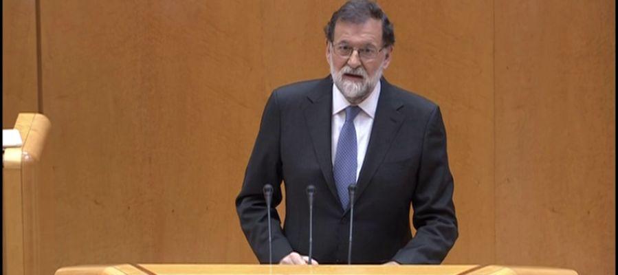 """Rajoy defiende el 155 en el Senado: """"Hay que salvar a Cataluña de los estragos que están causando las conductas anticonstitucionales"""""""