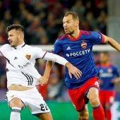 Una acción del CSKA - Basilea de jornada 3 de la Champions