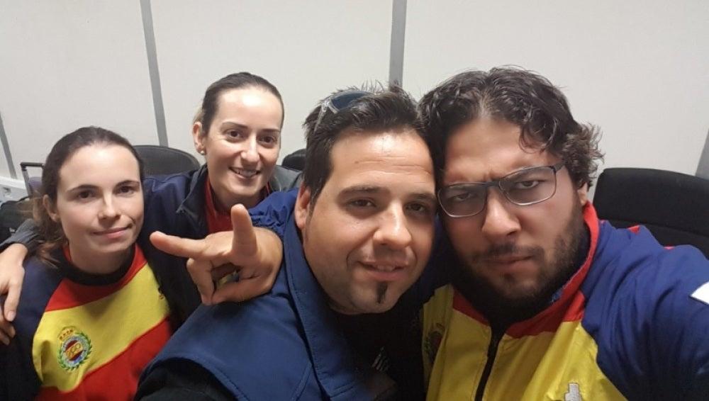 Los cuatro integrantes del equipo español de tiro