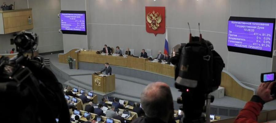 Medios de comunicación en el Parlamento de Rusia