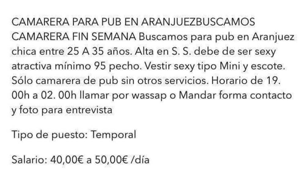"""Anuncio de un pub de Aranjuez que busca """"camarera sexy con talla 95 de pecho"""""""