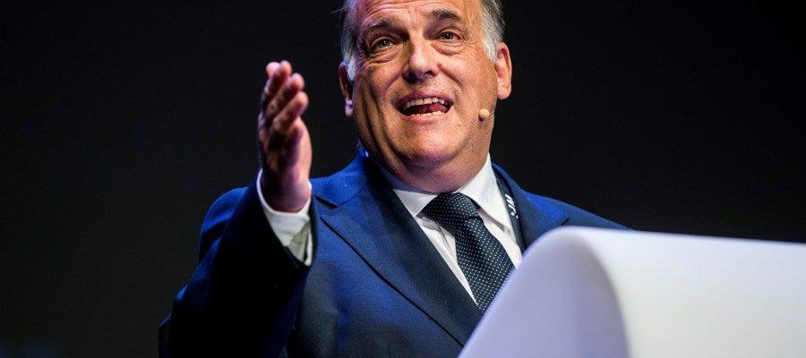 Javier Tebas, en un acto en Bruselas.