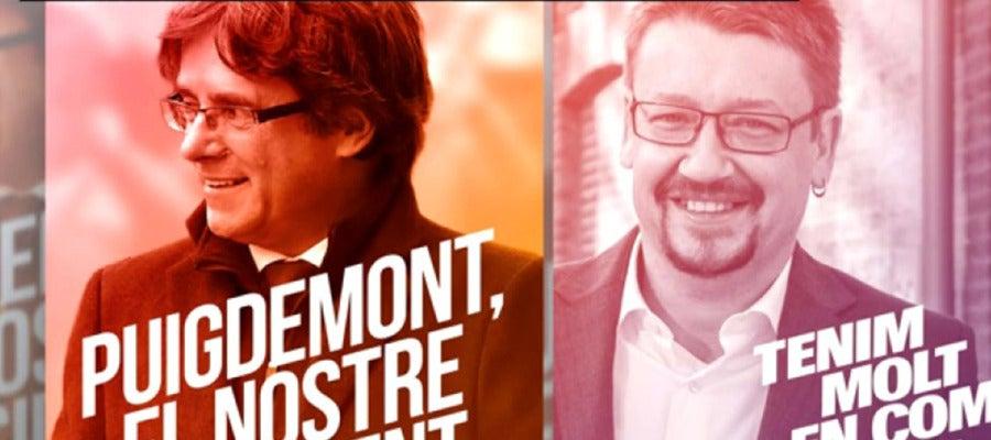 Carteles de Carles Puigdemont y Xavier Domènech para el 21D