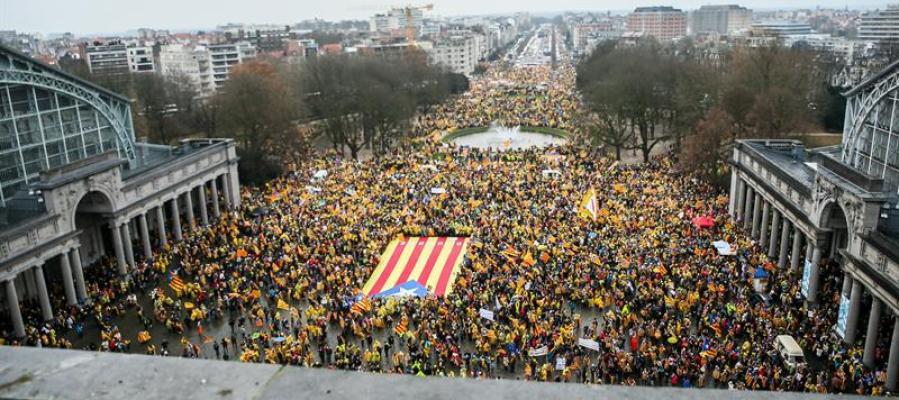 Manifestación a favor del independentismo en Bruselas