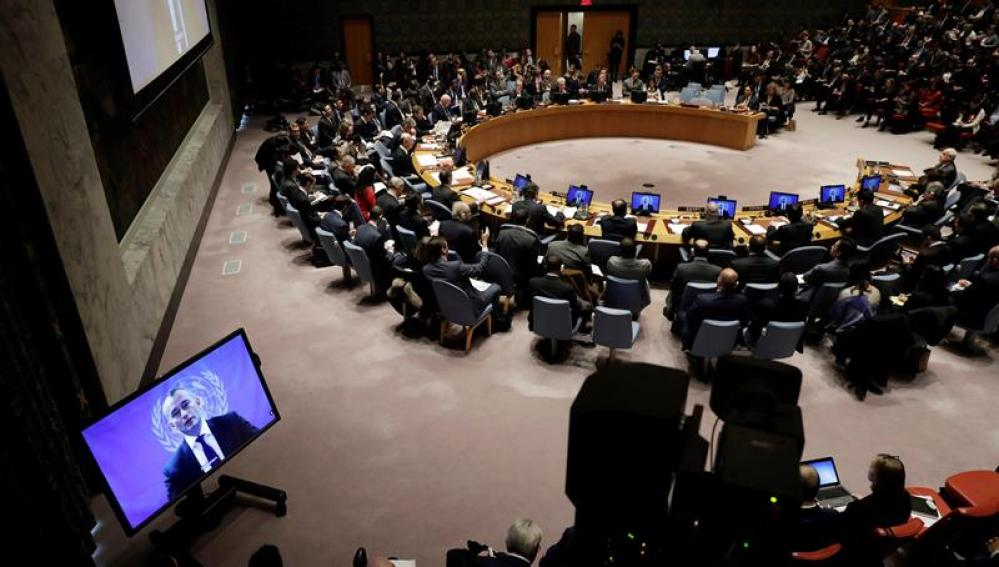 El coordinador especial de la ONU, Nikolay Mladenov, durante la reunión del Consejo de la ONU en Nueva York