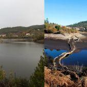 Embalse de Eiras antes y después de las lluvias