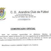 El comunicado del Arandina sobre las detenciones de sus jugadores