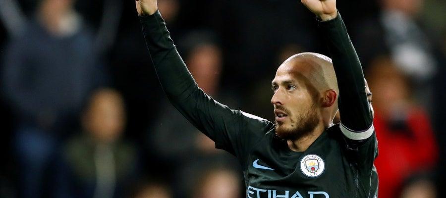Silva celebra un gol con el Manchester City