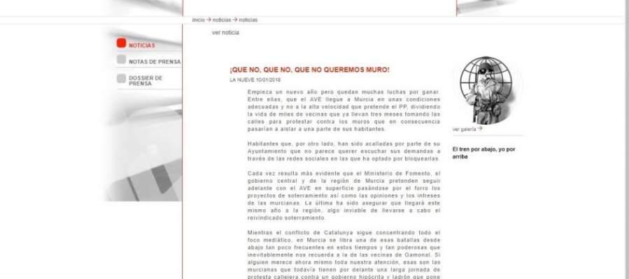 Imagen hackeo web Sociedad Murcia Alta Velocidad