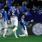 Gerard Moreno celebra su gol ante el Levante