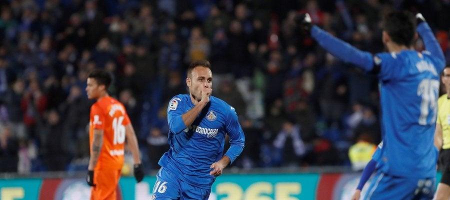 Juan Cala celebra su gol ante el Málaga